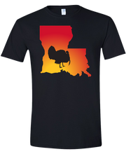 Load image into Gallery viewer, Short Sleeve T-Shirt Louisiana Black Turkey Vibrant Design High Quality Tight Knit Ring Spun Low Maintenance Cotton Printed With The Newest Available Color Transfer Technology
