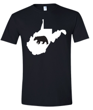 Load image into Gallery viewer, Short Sleeve T-Shirt West Virginia Black Black Bear Vibrant Design High Quality Tight Knit Ring Spun Low Maintenance Cotton Printed With The Newest Available Color Transfer Technology