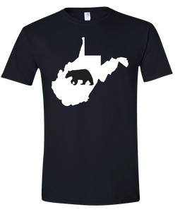 Short Sleeve T-Shirt West Virginia Black Black Bear Vibrant Design High Quality Tight Knit Ring Spun Low Maintenance Cotton Printed With The Newest Available Color Transfer Technology