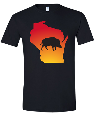 Short Sleeve T-Shirt Wisconsin Black Wild Hog Vibrant Design High Quality Tight Knit Ring Spun Low Maintenance Cotton Printed With The Newest Available Color Transfer Technology