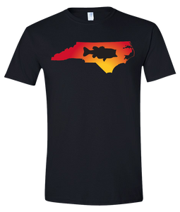Short Sleeve T-Shirt North Carolina Black Large Mouth Bass Vibrant Design High Quality Tight Knit Ring Spun Low Maintenance Cotton Printed With The Newest Available Color Transfer Technology