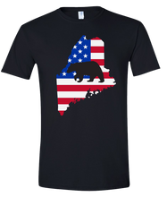 Load image into Gallery viewer, Short Sleeve T-Shirt Maine Black Black Bear Vibrant Design High Quality Tight Knit Ring Spun Low Maintenance Cotton Printed With The Newest Available Color Transfer Technology