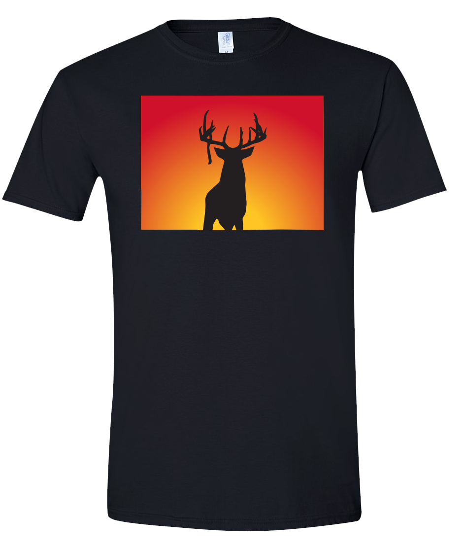 Short Sleeve T-Shirt Colorado Black Whitetail Deer Vibrant Design High Quality Tight Knit Ring Spun Low Maintenance Cotton Printed With The Newest Available Color Transfer Technology