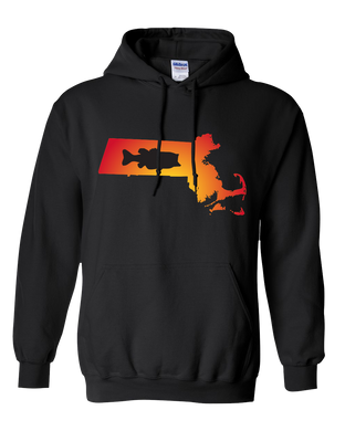 Pullover Hooded Sweatshirt Massachusetts Black Large Mouth Bass Vibrant Design High Quality Tight Knit Ring Spun Low Maintenance Cotton Printed With The Newest Available Color Transfer Technology