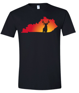 Short Sleeve T-Shirt Kentucky Black Whitetail Deer Vibrant Design High Quality Tight Knit Ring Spun Low Maintenance Cotton Printed With The Newest Available Color Transfer Technology