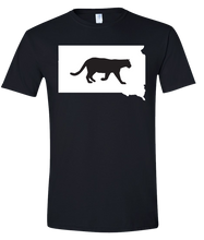 Load image into Gallery viewer, Short Sleeve T-Shirt South Dakota Black Mountain Lion Vibrant Design High Quality Tight Knit Ring Spun Low Maintenance Cotton Printed With The Newest Available Color Transfer Technology