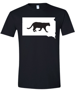 Short Sleeve T-Shirt South Dakota Black Mountain Lion Vibrant Design High Quality Tight Knit Ring Spun Low Maintenance Cotton Printed With The Newest Available Color Transfer Technology
