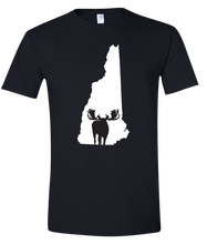 Load image into Gallery viewer, Short Sleeve T-Shirt New Hampshire Black Moose Vibrant Design High Quality Tight Knit Ring Spun Low Maintenance Cotton Printed With The Newest Available Color Transfer Technology