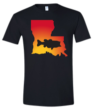 Load image into Gallery viewer, Short Sleeve T-Shirt Louisiana Black Large Mouth Bass Vibrant Design High Quality Tight Knit Ring Spun Low Maintenance Cotton Printed With The Newest Available Color Transfer Technology