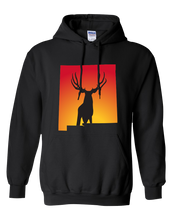 Load image into Gallery viewer, Pullover Hooded Sweatshirt New Mexico Black Mule Deer Vibrant Design High Quality Tight Knit Ring Spun Low Maintenance Cotton Printed With The Newest Available Color Transfer Technology