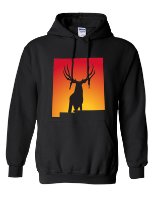 Pullover Hooded Sweatshirt New Mexico Black Mule Deer Vibrant Design High Quality Tight Knit Ring Spun Low Maintenance Cotton Printed With The Newest Available Color Transfer Technology