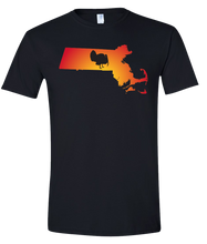 Load image into Gallery viewer, Short Sleeve T-Shirt Massachusetts Black Turkey Vibrant Design High Quality Tight Knit Ring Spun Low Maintenance Cotton Printed With The Newest Available Color Transfer Technology