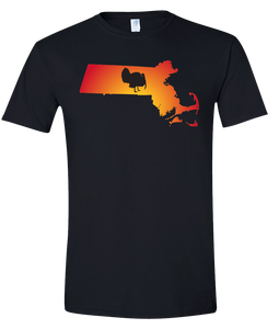 Short Sleeve T-Shirt Massachusetts Black Turkey Vibrant Design High Quality Tight Knit Ring Spun Low Maintenance Cotton Printed With The Newest Available Color Transfer Technology