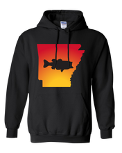 Load image into Gallery viewer, Pullover Hooded Sweatshirt Arkansas Black Large Mouth Bass Vibrant Design High Quality Tight Knit Ring Spun Low Maintenance Cotton Printed With The Newest Available Color Transfer Technology