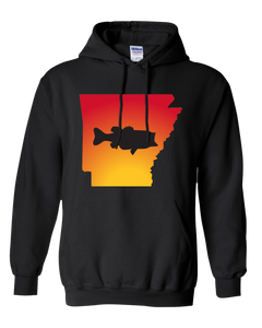 Pullover Hooded Sweatshirt Arkansas Black Large Mouth Bass Vibrant Design High Quality Tight Knit Ring Spun Low Maintenance Cotton Printed With The Newest Available Color Transfer Technology