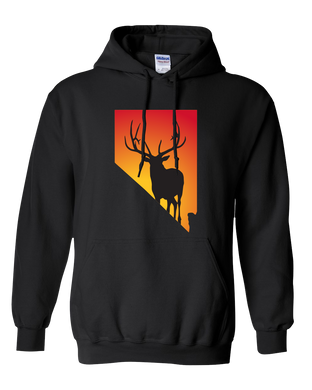 Pullover Hooded Sweatshirt Nevada Black Elk Vibrant Design High Quality Tight Knit Ring Spun Low Maintenance Cotton Printed With The Newest Available Color Transfer Technology