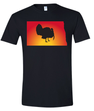 Load image into Gallery viewer, Short Sleeve T-Shirt North Dakota Black Turkey Vibrant Design High Quality Tight Knit Ring Spun Low Maintenance Cotton Printed With The Newest Available Color Transfer Technology