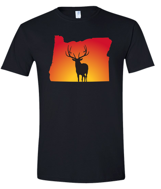Short Sleeve T-Shirt Oregon Black Elk Vibrant Design High Quality Tight Knit Ring Spun Low Maintenance Cotton Printed With The Newest Available Color Transfer Technology