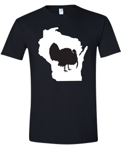 Short Sleeve T-Shirt Wisconsin Black Turkey Vibrant Design High Quality Tight Knit Ring Spun Low Maintenance Cotton Printed With The Newest Available Color Transfer Technology