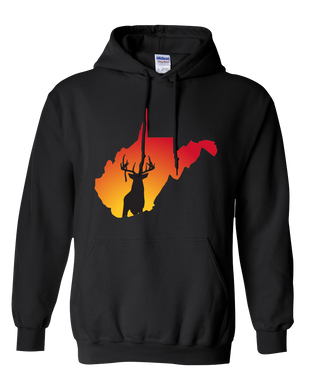 Pullover Hooded Sweatshirt West Virginia Black Whitetail Deer Vibrant Design High Quality Tight Knit Ring Spun Low Maintenance Cotton Printed With The Newest Available Color Transfer Technology