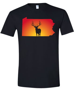 Short Sleeve T-Shirt Pennsylvania Black Elk Vibrant Design High Quality Tight Knit Ring Spun Low Maintenance Cotton Printed With The Newest Available Color Transfer Technology