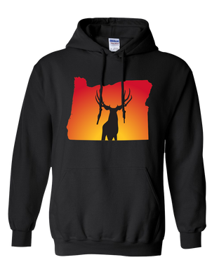 Pullover Hooded Sweatshirt Oregon Black Mule Deer Vibrant Design High Quality Tight Knit Ring Spun Low Maintenance Cotton Printed With The Newest Available Color Transfer Technology