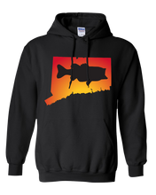 Load image into Gallery viewer, Pullover Hooded Sweatshirt Connecticut Black Large Mouth Bass Vibrant Design High Quality Tight Knit Ring Spun Low Maintenance Cotton Printed With The Newest Available Color Transfer Technology