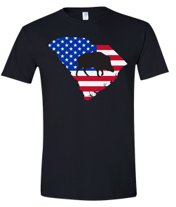 Short Sleeve T-Shirt South Carolina Black Wild Hog Vibrant Design High Quality Tight Knit Ring Spun Low Maintenance Cotton Printed With The Newest Available Color Transfer Technology