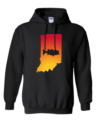 Pullover Hooded Sweatshirt Indiana Black Large Mouth Bass Vibrant Design High Quality Tight Knit Ring Spun Low Maintenance Cotton Printed With The Newest Available Color Transfer Technology