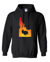 Load image into Gallery viewer, Pullover Hooded Sweatshirt Idaho Black Turkey Vibrant Design High Quality Tight Knit Ring Spun Low Maintenance Cotton Printed With The Newest Available Color Transfer Technology