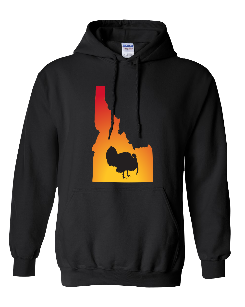 Pullover Hooded Sweatshirt Idaho Black Turkey Vibrant Design High Quality Tight Knit Ring Spun Low Maintenance Cotton Printed With The Newest Available Color Transfer Technology