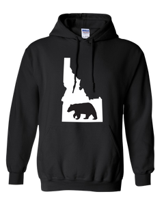 Pullover Hooded Sweatshirt Idaho Black Black Bear Vibrant Design High Quality Tight Knit Ring Spun Low Maintenance Cotton Printed With The Newest Available Color Transfer Technology