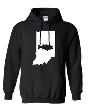 Load image into Gallery viewer, Pullover Hooded Sweatshirt Indiana Black Large Mouth Bass Vibrant Design High Quality Tight Knit Ring Spun Low Maintenance Cotton Printed With The Newest Available Color Transfer Technology