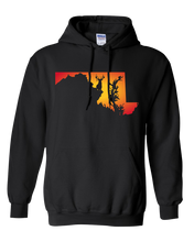 Load image into Gallery viewer, Pullover Hooded Sweatshirt Maryland Black Whitetail Deer Vibrant Design High Quality Tight Knit Ring Spun Low Maintenance Cotton Printed With The Newest Available Color Transfer Technology