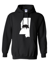 Load image into Gallery viewer, Pullover Hooded Sweatshirt Mississippi Black Wild Hog Vibrant Design High Quality Tight Knit Ring Spun Low Maintenance Cotton Printed With The Newest Available Color Transfer Technology