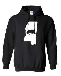 Pullover Hooded Sweatshirt Mississippi Black Wild Hog Vibrant Design High Quality Tight Knit Ring Spun Low Maintenance Cotton Printed With The Newest Available Color Transfer Technology