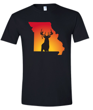 Load image into Gallery viewer, Short Sleeve T-Shirt Missouri Black Whitetail Deer Vibrant Design High Quality Tight Knit Ring Spun Low Maintenance Cotton Printed With The Newest Available Color Transfer Technology