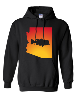 Pullover Hooded Sweatshirt Arizona Black Large Mouth Bass Vibrant Design High Quality Tight Knit Ring Spun Low Maintenance Cotton Printed With The Newest Available Color Transfer Technology