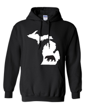 Load image into Gallery viewer, Pullover Hooded Sweatshirt Michigan Black Black Bear Vibrant Design High Quality Tight Knit Ring Spun Low Maintenance Cotton Printed With The Newest Available Color Transfer Technology