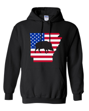 Load image into Gallery viewer, Pullover Hooded Sweatshirt Arkansas Black Wild Hog Vibrant Design High Quality Tight Knit Ring Spun Low Maintenance Cotton Printed With The Newest Available Color Transfer Technology