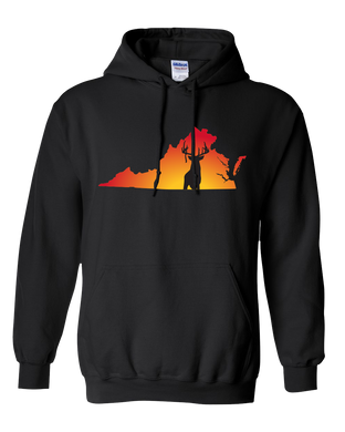 Pullover Hooded Sweatshirt Virginia Black Whitetail Deer Vibrant Design High Quality Tight Knit Ring Spun Low Maintenance Cotton Printed With The Newest Available Color Transfer Technology