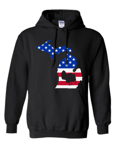 Pullover Hooded Sweatshirt Michigan Black Turkey Vibrant Design High Quality Tight Knit Ring Spun Low Maintenance Cotton Printed With The Newest Available Color Transfer Technology