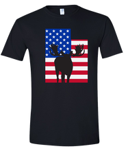Load image into Gallery viewer, Short Sleeve T-Shirt Utah Black Moose Vibrant Design High Quality Tight Knit Ring Spun Low Maintenance Cotton Printed With The Newest Available Color Transfer Technology
