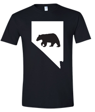 Load image into Gallery viewer, Short Sleeve T-Shirt Nevada Black Black Bear Vibrant Design High Quality Tight Knit Ring Spun Low Maintenance Cotton Printed With The Newest Available Color Transfer Technology