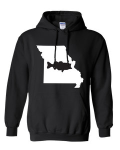 Pullover Hooded Sweatshirt Missouri Black Large Mouth Bass Vibrant Design High Quality Tight Knit Ring Spun Low Maintenance Cotton Printed With The Newest Available Color Transfer Technology
