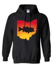 Load image into Gallery viewer, Pullover Hooded Sweatshirt Ohio Black Large Mouth Bass Vibrant Design High Quality Tight Knit Ring Spun Low Maintenance Cotton Printed With The Newest Available Color Transfer Technology