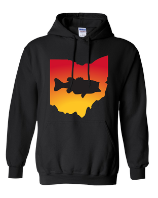 Pullover Hooded Sweatshirt Ohio Black Large Mouth Bass Vibrant Design High Quality Tight Knit Ring Spun Low Maintenance Cotton Printed With The Newest Available Color Transfer Technology