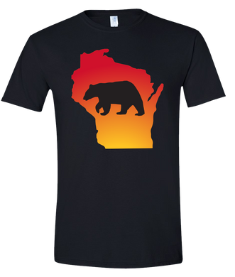 Short Sleeve T-Shirt Wisconsin Black Black Bear Vibrant Design High Quality Tight Knit Ring Spun Low Maintenance Cotton Printed With The Newest Available Color Transfer Technology