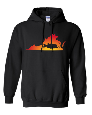 Pullover Hooded Sweatshirt Virginia Black Large Mouth Bass Vibrant Design High Quality Tight Knit Ring Spun Low Maintenance Cotton Printed With The Newest Available Color Transfer Technology