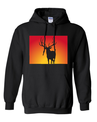 Pullover Hooded Sweatshirt Colorado Black Elk Vibrant Design High Quality Tight Knit Ring Spun Low Maintenance Cotton Printed With The Newest Available Color Transfer Technology